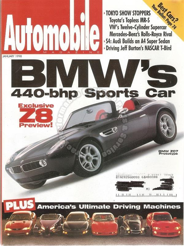 January 1998 Automobile BMW Z07 Plymouth Prowler Dodge Viper GTS Mustang Cobra