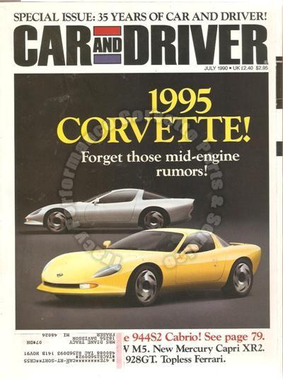 July 1990 Car and Driver 1995 Corvette 35th Anniversary Special Camaro Z28