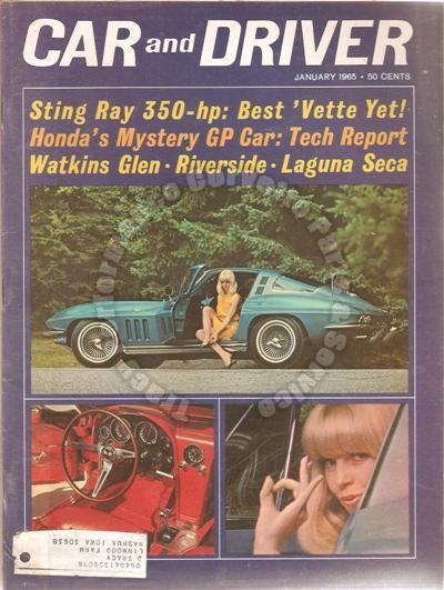 January 1965 Car and Driver 350 HP Sting Ray U. S. Grand Prix The Tracy Story