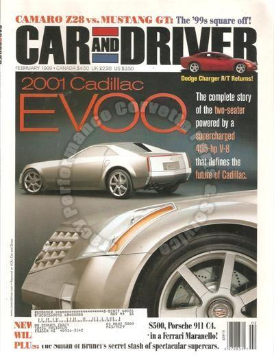 February 1999 Car and Driver 2001 Cadillac EVOQ Charger VW Eurovan GLS BMW M5