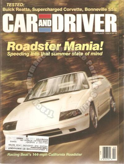 February 1988 Car and Driver Roadster Mania! BMW Z1 Buick Reatta Audi 90