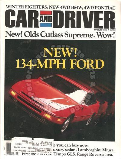 March 1988 Car and Driver Ford Probe GT BMW 325iX Road to Nicaragua Nuvolari