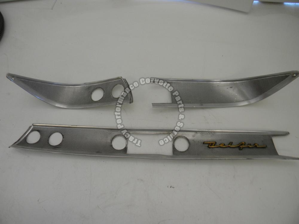 1957 Chevrolet Bel Air Used Original 3736058 3 Pc Dash Trim Set w/Bel Air Script