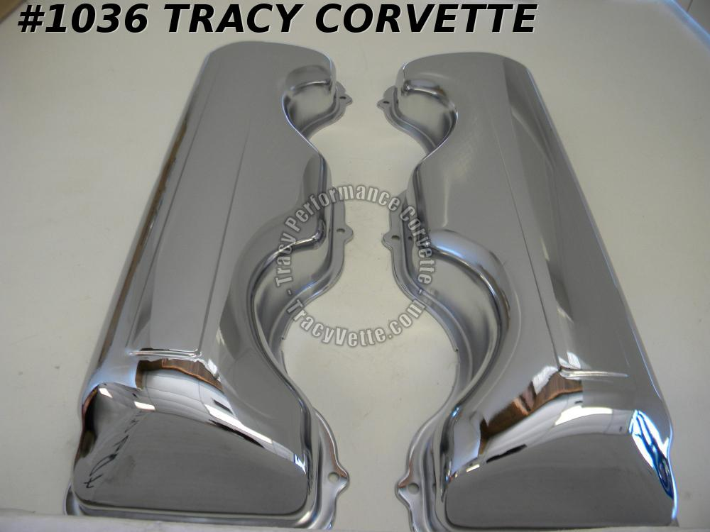 "1958-1965 Chevrolet New 348 409 ""W"" Smooth Chrome Valve Covers Repro. w/o Bowtie"