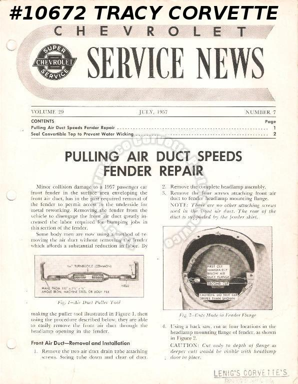 July 1957 Vol 29 No 7 Chevrolet Service News Pulling Air Duct Speeds Fender Rep