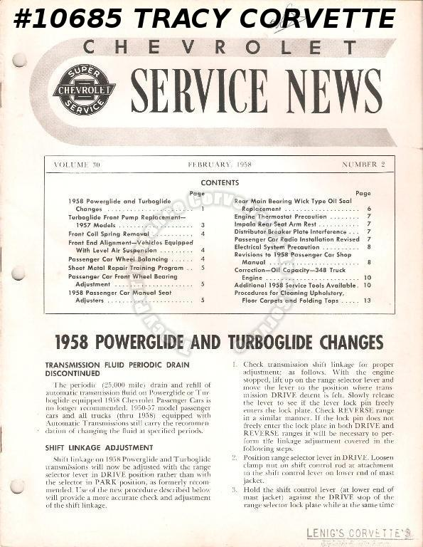 February 1958 Vol 30 No 2 Chevrolet Service News 58 Powerglide and Turboglide