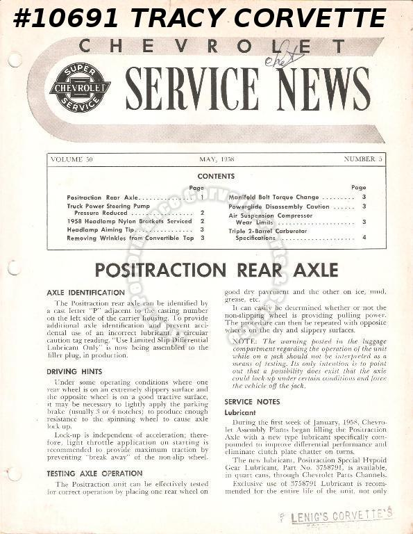 May 1958 Vol 30 No 5 Chevrolet Service News Positraction Rear Axle Headlamp tip