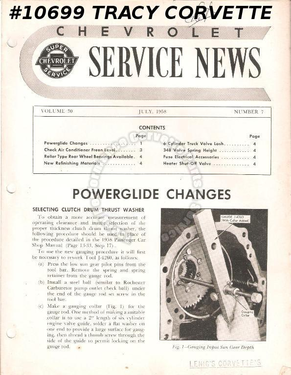 July 1958 Vol 30 No 7 Chevrolet Service News 348 Valve Spring Height Powerglide