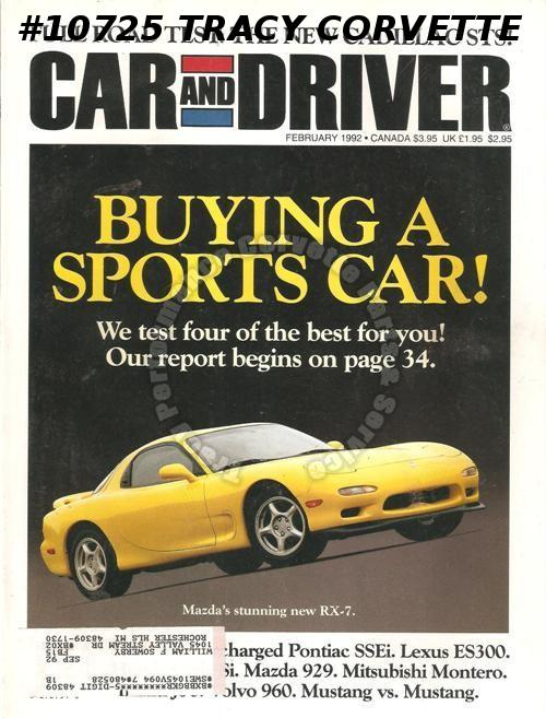 February 1992 Car and Driver Corvette Elan RX-7 300ZX Mitsubishi Montero Mustang