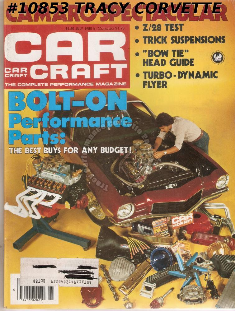 "JULY 1980 CAR CRAFT BUDWEISER FUNNY CARS Z/28 CAMARO ""BOW TIE"" CHEVY HEADS"