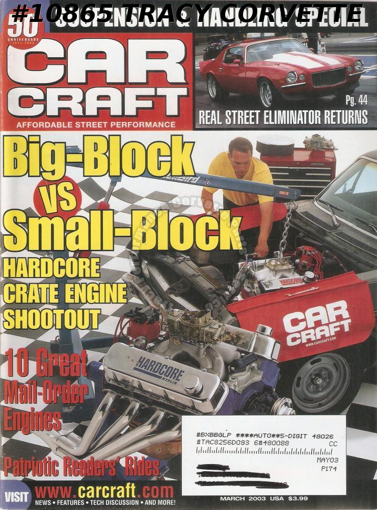 MARCH 2003 CAR CRAFT 65 GTO TRICK TURBO 400 CHEVELLE REAL STREET ELIMINATOR