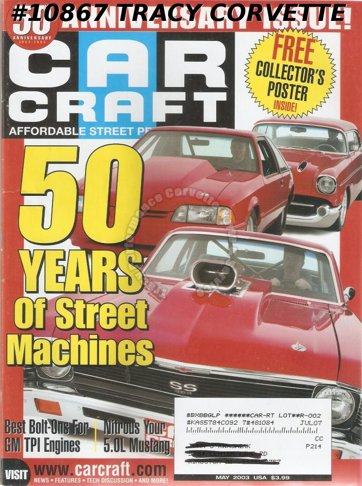 MAY 2003 CAR CRAFT ORANGE CRUSH COLLECTIBLE POSTER '65 BISCAYNE STREET MACHINES