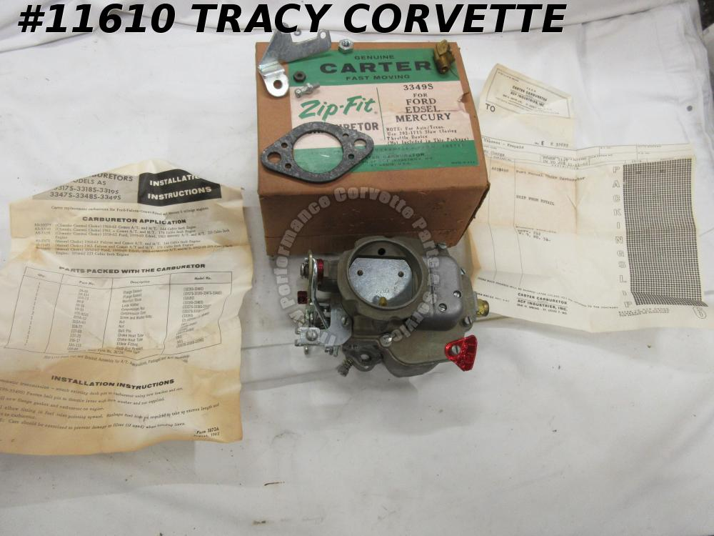 1952-1962 Ford Edsel Mercury NOS 3349S  Carter 1 BBL Carburetor Dated B 6 NIB