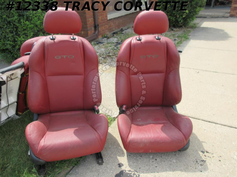 2004-2006 Pontiac GTO Red Leather Seats Driver+Pass Buckets+Rear Bench Electric
