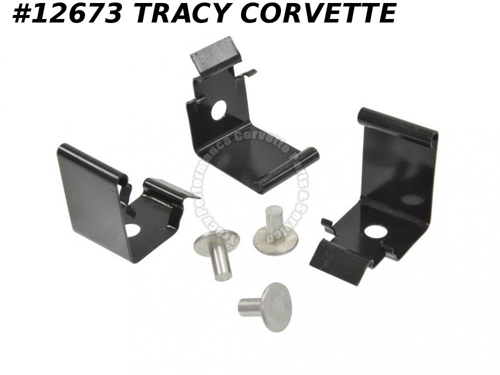 1963-1967 Corvette Wire Cover / Carpet Support Floor Plate Clip - Set Of 3 With Rivets