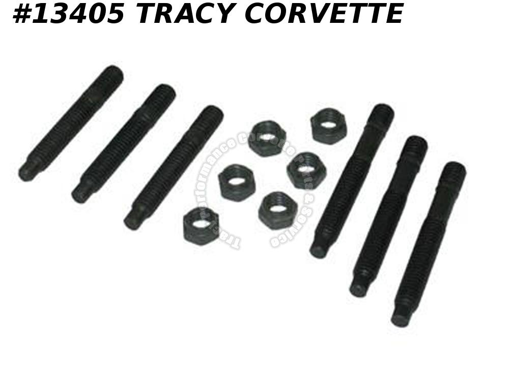 1959-1980 Corvette Exhaust Manifold Studs With Top Lock Nuts - Set of 12