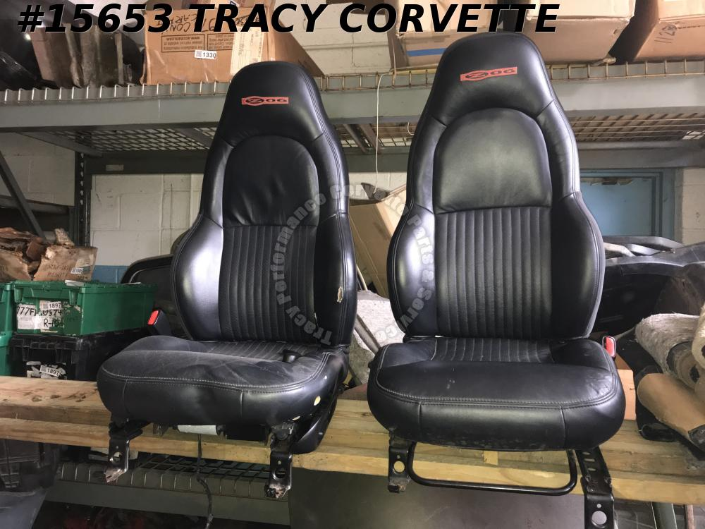 1997-2004 Corvette Z06 Seats  10401701 Black Leather w/ Power Track Red Logo