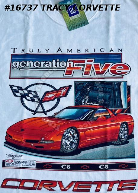X-Large C5 1997-2004 Corvette Truly American Generation Five White T-Shirt