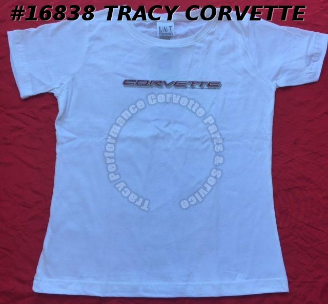 X-Large Corvette Womens Ladies White T-SHIRT *Inventory Clearance*