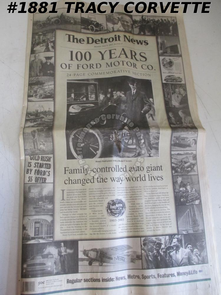 100 Years of Ford Motor Company 24 Page Commemorative Section Detroit News 2003