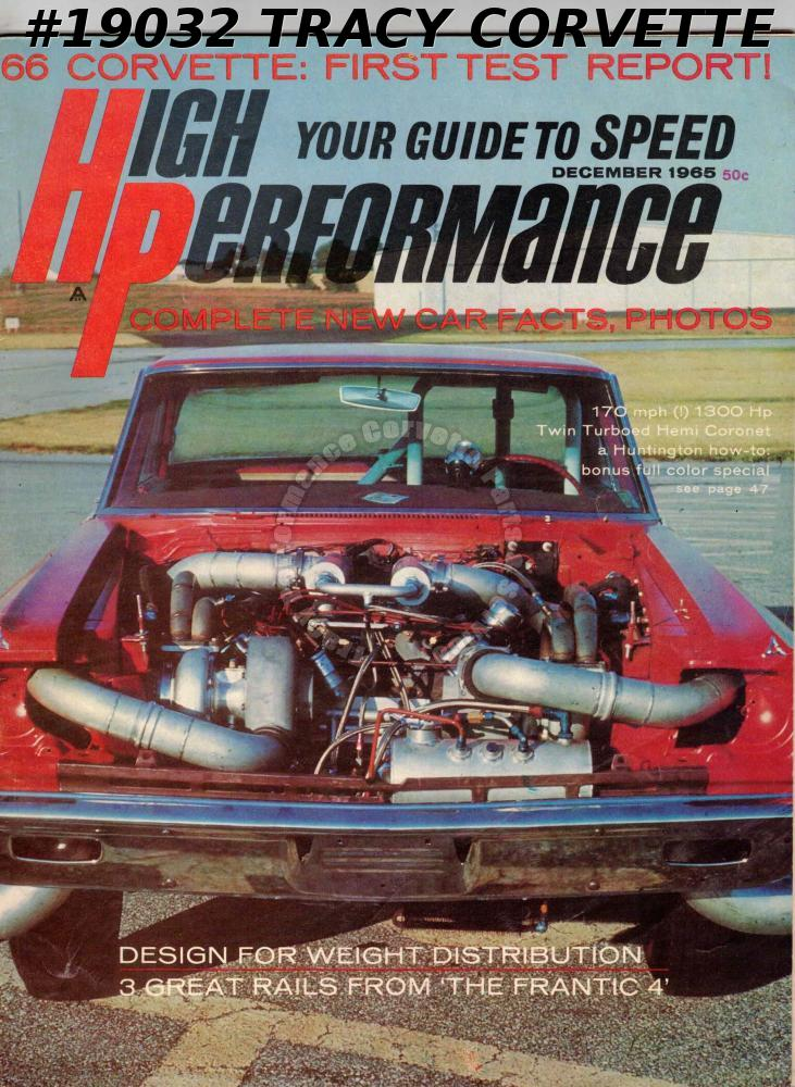 December 1965 High Performance 1966 Corvette Twin Turbo Hemi Coronet