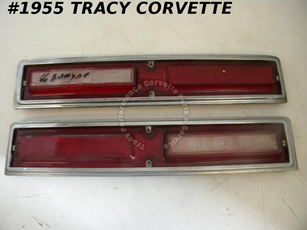 1966 Chevrolet Biscayne Used 5957949 5957950 Tail Light Lens with Trim Bezels/Pr