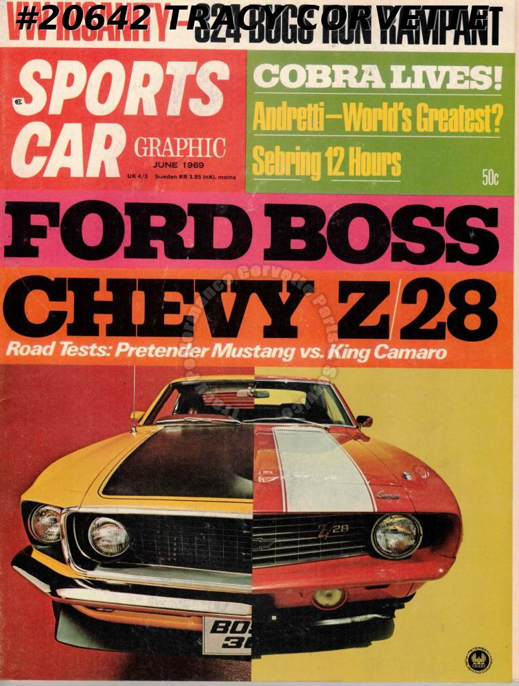 June 1969 Sports Car Graphic Andretti Camaro Z/28 Ford Mustang