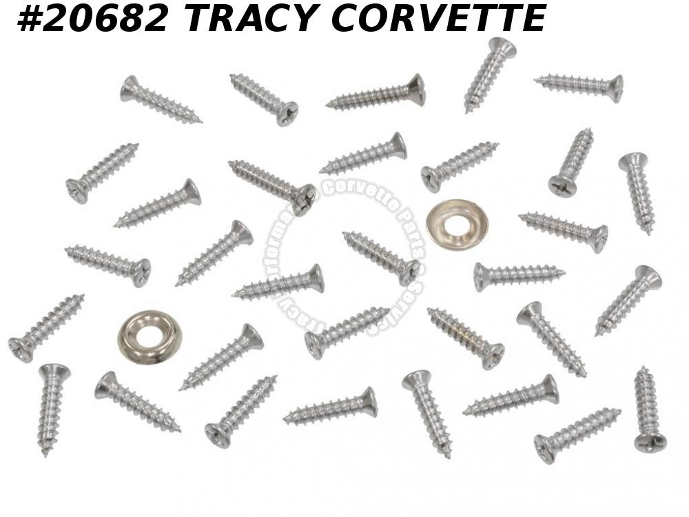 1963 Corvette Window Moulding Screw Set - Rear Coupe Inside And Headliner Panel