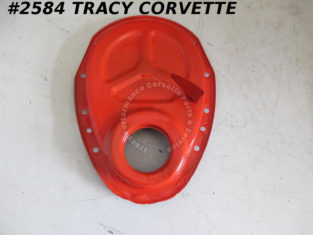"1969-1970 Camaro Orig 3946866 SB Timing Chain Cover 7"" Balancer Dowel Hole DATES"