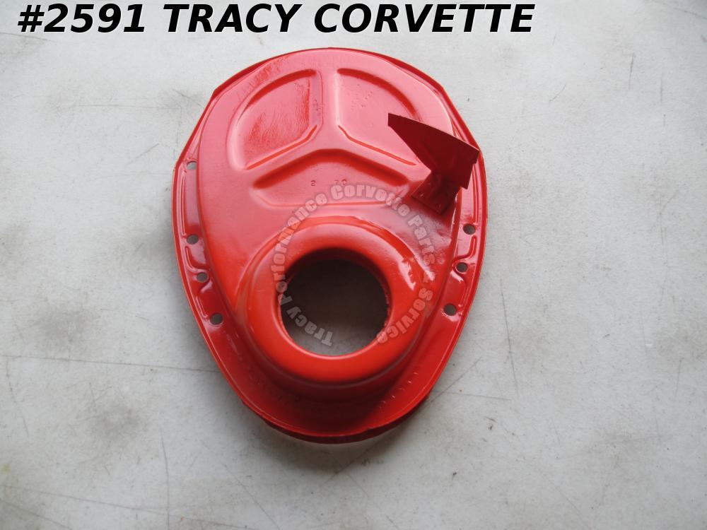 "1969-1974 Camaro Orig 3946870 SB Timing Chain Cover 8"" Balancer Dowel Hole 2 70"