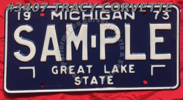 "1973 73 Michigan New Original Wall Decor Metal License Plate SAM-PLE 12"" x 6"""